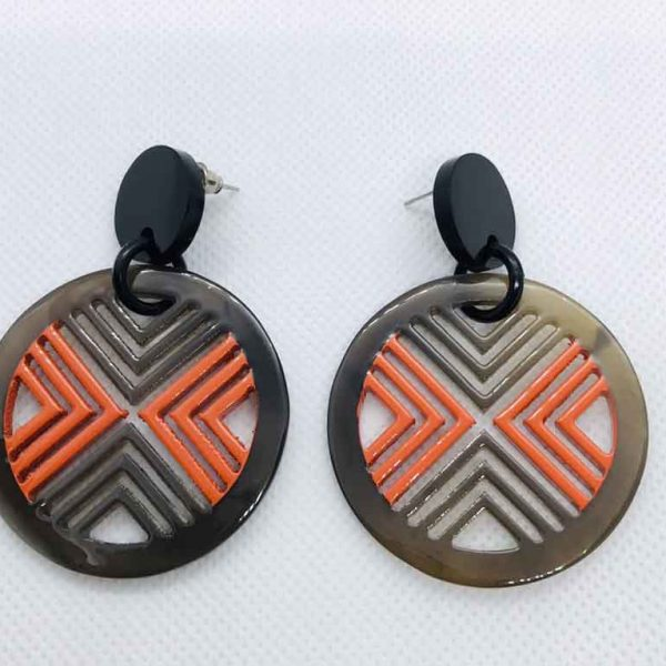 hermes horn and lacquer earrings
