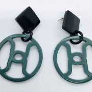 Hermes buffalo horn and circleearrings