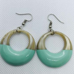 Gorgeous hermes buffalo horn green lacquer earrings