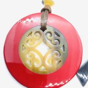 Circle red Lacquer Pendant H00058