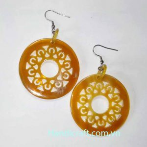 Buffalo horn earrings, circle earrings