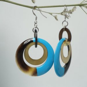 Horn and lacquer Earrings, handmade jewelry
